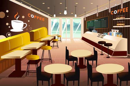 negozio: Una illustrazione vettoriale di interno di un moderno coffee shop