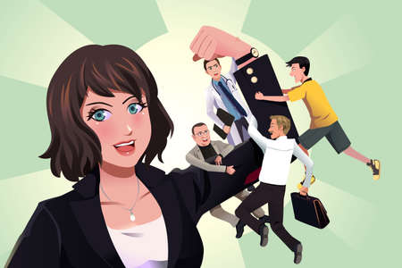 A vector illustration of people hanging on superwoman arm Vector