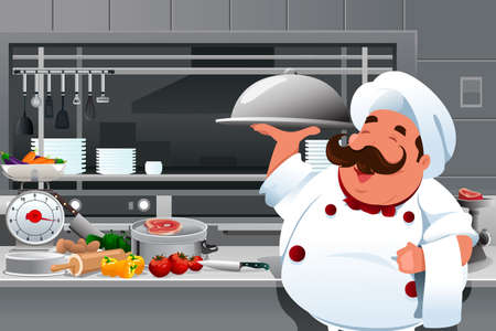 commercial kitchen: A vector illustration of chef holding a plate of food in the kitchen Illustration
