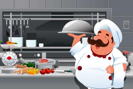cocina caricatura: Una ilustraci�n vectorial de chef con un plato de comida en la cocina Vectores