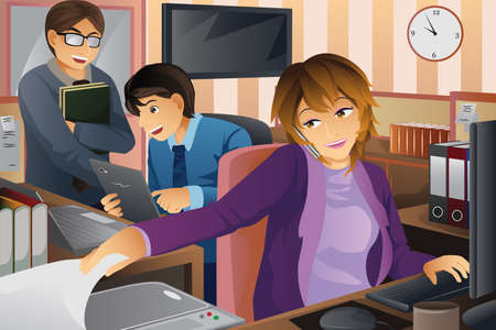 woman on phone: A vector illustration of business people working at the office