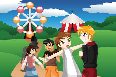 A vector illustration of kids waiting in line before going to a ride ferris wheel in an amusement park Illustration