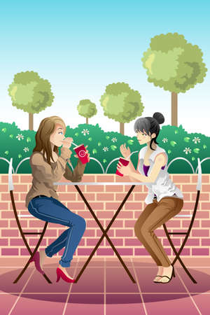 A vector illustration of beautiful girl hanging out and have a coffee together