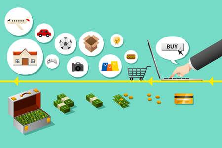 A vector illustration of internet shopping  concept Vector