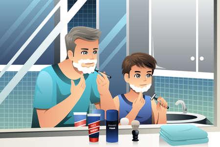 아버지와 아들이 욕실에서 함께 면도의 벡터 일러스트 레이 션