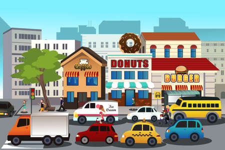 運輸: 繁忙的城市,在早晨的矢量插圖