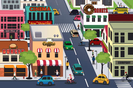 A vector illustration of busy city in the morning Vector