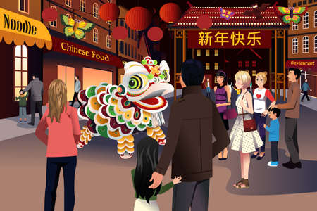 illustration of people celebrating Chinese New Year in a Chinatown Vector