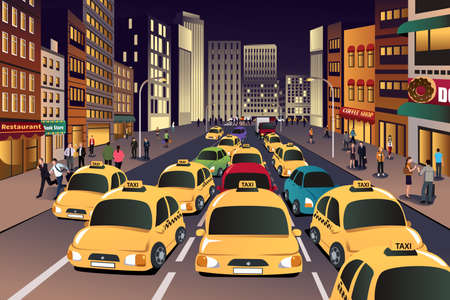 A vector illustration of busy city in the evening Vector