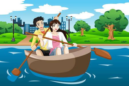 illustration of happy couple rowing a boat on lake Vector