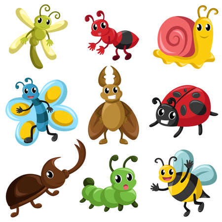 illustration of bug icon sets Vector