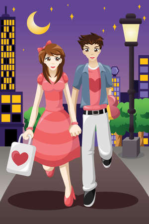 illustration of couple going out on a Valentines Day