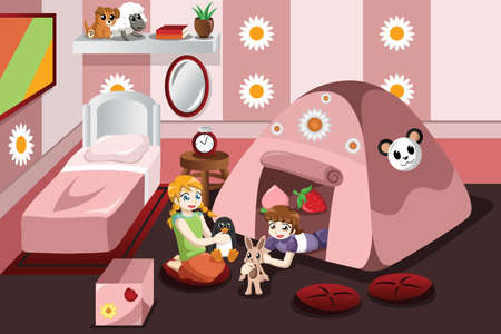illustration of kid playing in a tent inside the bedroom Vector