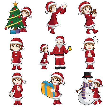 white socks: illustration of girl with Christmas stuff