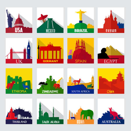 A vector illustration of popular sightseeing spots in the world icons Vector