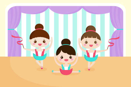 tiptoe: A vector illustration of little girls in a ballet performance