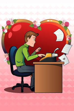 writing letter: A vector illustration of young man writing a love letter using an old typewriter for Valentines day concept Illustration