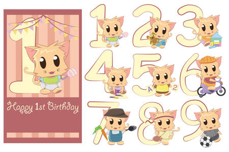 number of people: A vector illustration of kids birthday template with the options to change the age