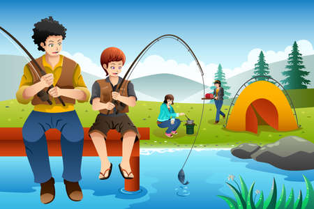 A vector illustration of dad and son fishing while mom and daughter cooking near the camping tent