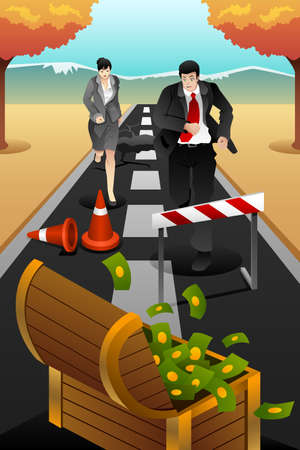 A vector illustration of business people running on the road for business concept of reaching goal Vector