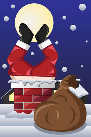 nick: A vector illustration of Santa Claus stuck in a chimney Illustration
