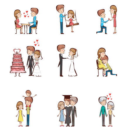 father of the bride: A vector illustration of life cycle of a couple Illustration