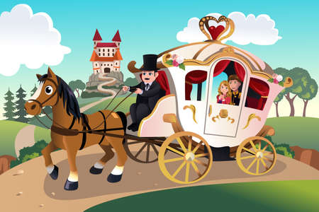 A vector illustration of prince and princess in a horse pulled wagon