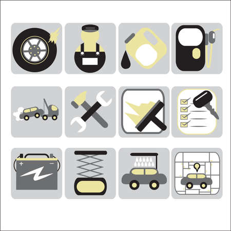 A vector illustration of Auto service icon sets