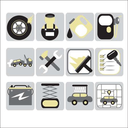 Une illustration de vecteur d'icône Auto services ensembles Banque d'images - 33445970