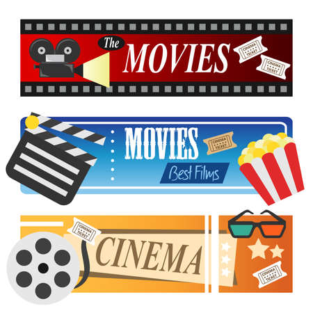 A vector illustration of movie banners
