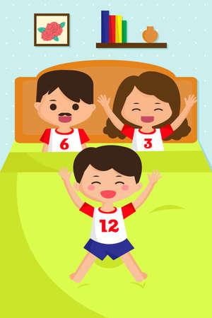 kid vector: Una ilustración vectorial de saltar chico en la cama mientras ve a sus padres