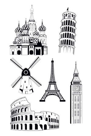 A vector illustration of European travel destinations in ink style Vector