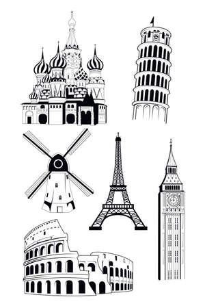 Una ilustración vectorial de los destinos turísticos europeos en el estilo de tinta Foto de archivo - 33552763