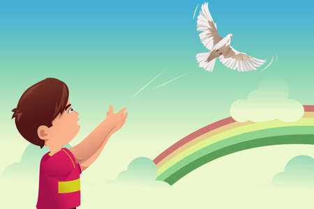 release: A vector illustration of kids release a bird for freedom concept