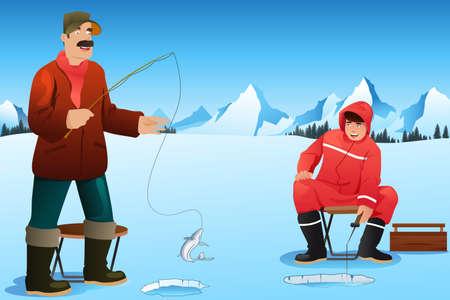 ice fishing: Una ilustraci�n vectorial de hombres felices pesca en el hielo en el lago