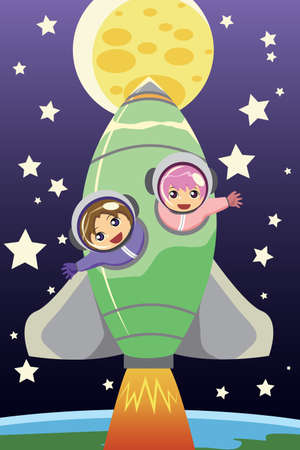 A vector illustration of kids riding on a rocket going to the moon Vector
