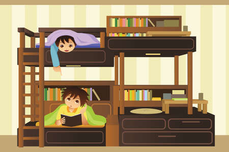 bunk bed: A vector illustration of kids playing in their bedroom