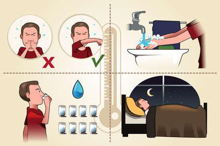 estornudo: Una ilustraci�n vectorial de formas correctas para evitar la propagaci�n de g�rmenes de la gripe folleto