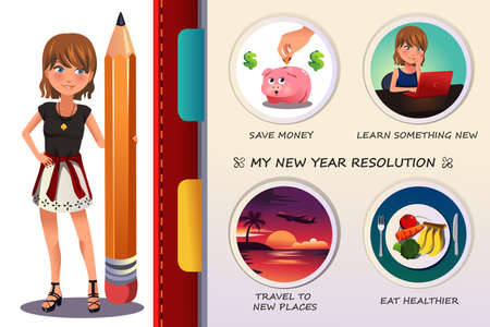 year: A vector illustration of woman writing about her new year resolution Illustration