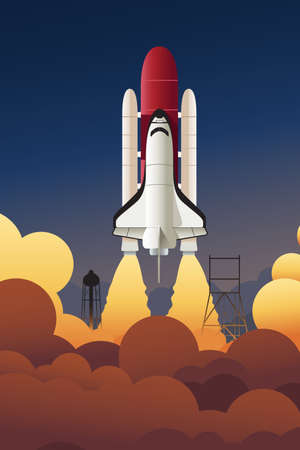 earth cartoon: A vector illustration of rocket launching into space Illustration