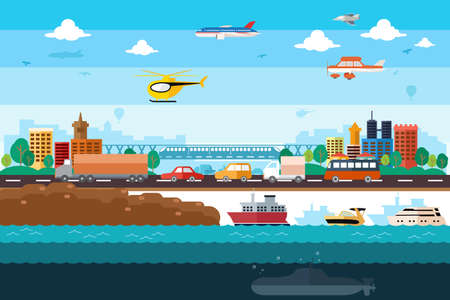 avion caricatura: Una ilustraci�n vectorial de diferente el transporte en la ciudad Vectores