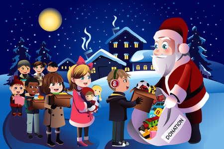 saint nick: A vector illustration of happy kids donation during Christmas