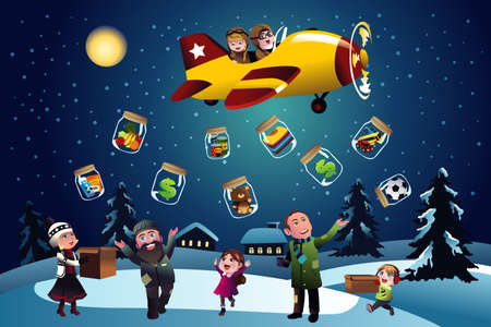 A vector illustration of happy kids giving donation during Christmas Vector
