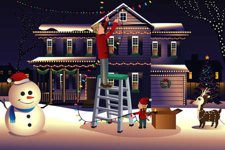 A vector illustration of father son putting up lights around the house together for Christmas