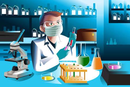 Een vector illustratie van de wetenschapper man aan het werk in het laboratorium