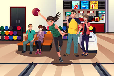bowling: A vector illustration of young people at bowling