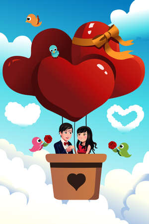 A vector illustration of romantic young couple riding a hot air balloon for valentine day concept