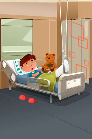 casts: A vector illustration of kid with broken leg in the hospital