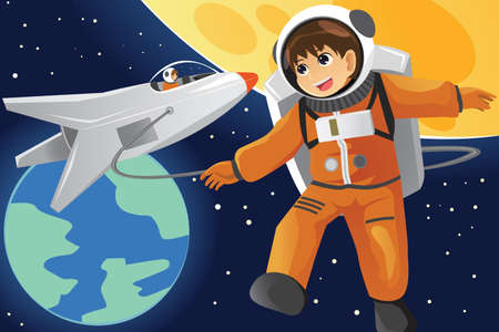 A vector illustration of happy kid imagining as an astronaut