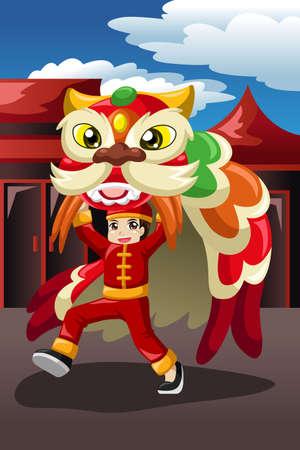 Une illustration d'un garçon de vecteur faire une danse du lion Banque d'images - 33894924